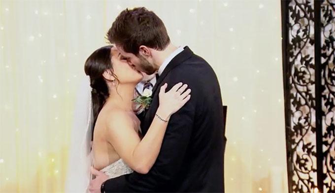 MAFS Season 11 couple Brett and Olivia kissing on wedding day