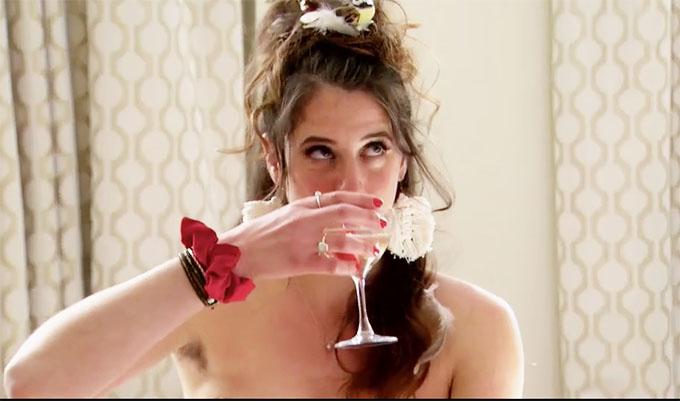 MAFS Amelia drinking wine in wedding dress