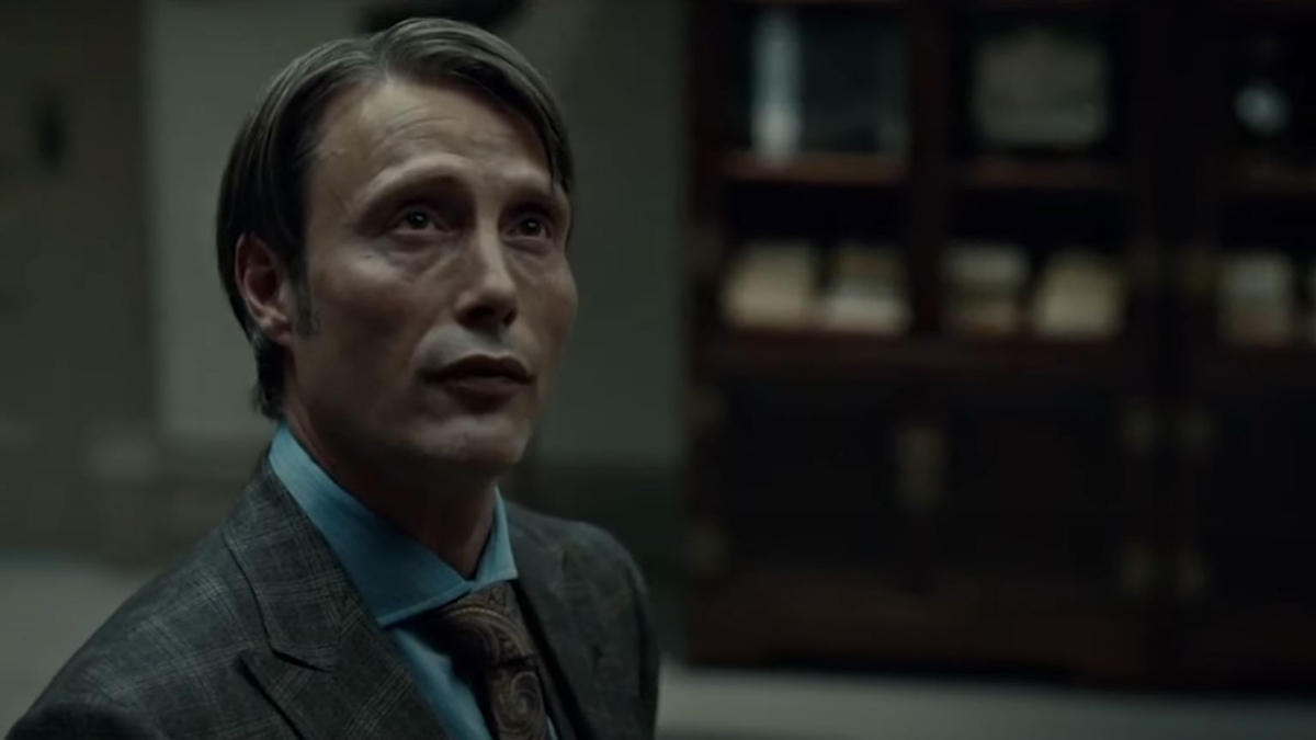 Mads Mikkkelsen as Hannibal in the show Hannibal.