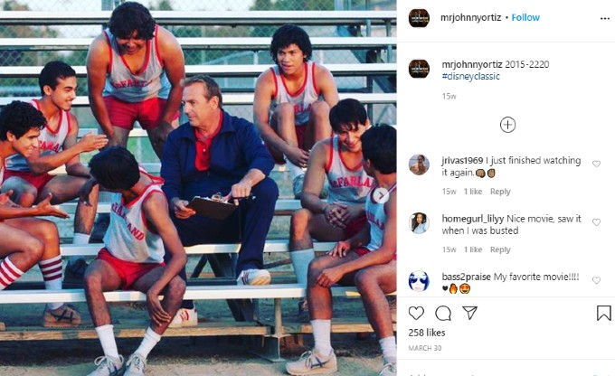 Ortiz Instagram post about McFarland USA