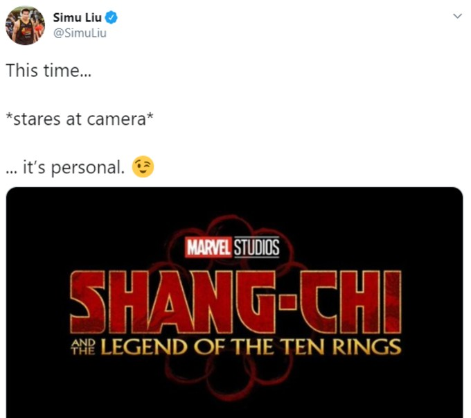 Simu Liu original tweet on movie