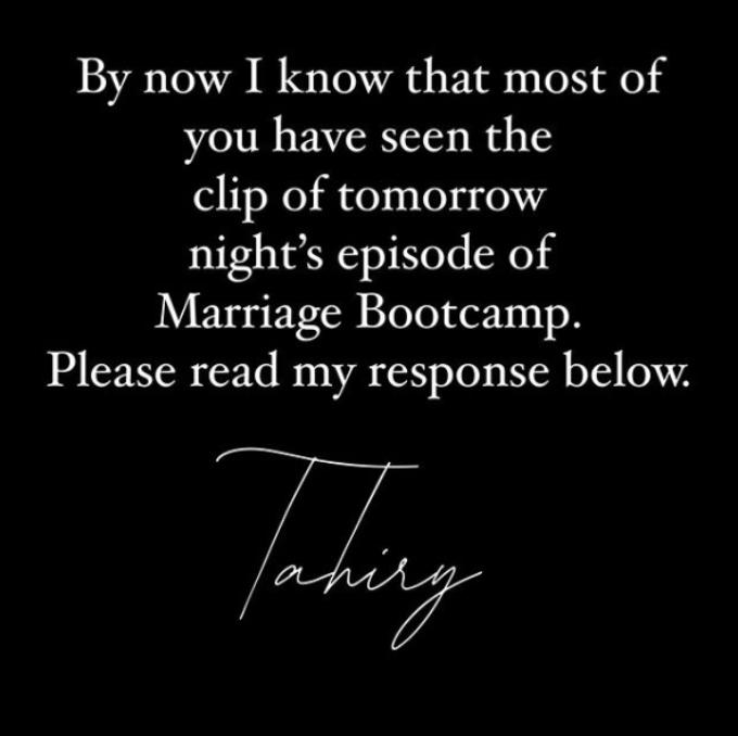 Tahiry Jose Instagram response