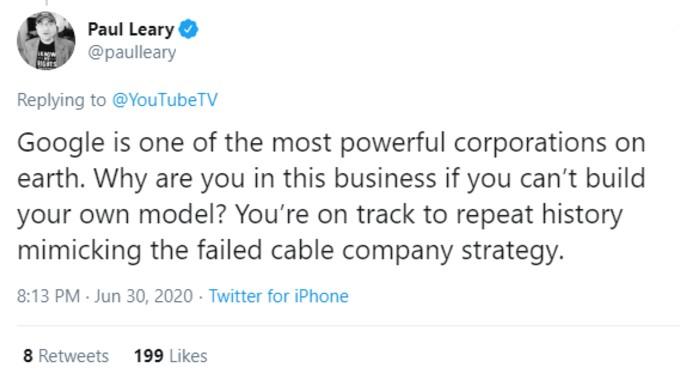 Tweet criticising YouTubeTV