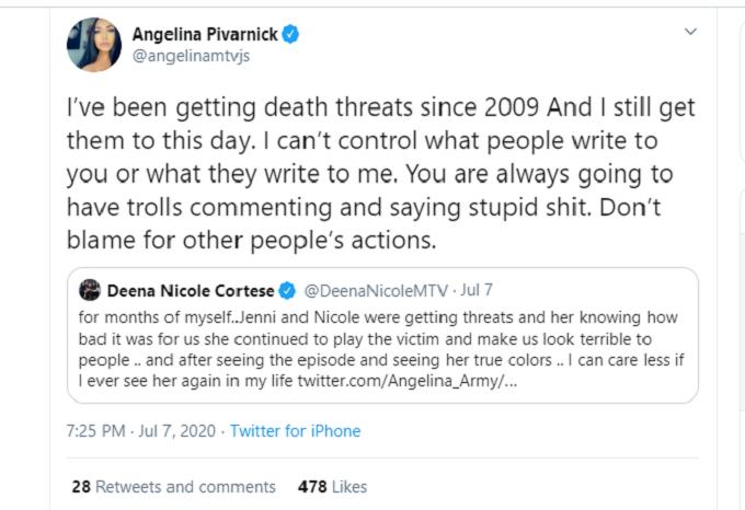 Angelina Pivarnick response to Deena Cortese