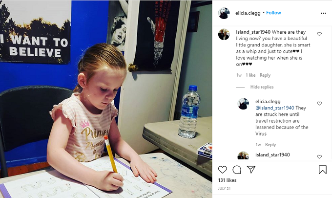 Photo of Deavan Clegg's daughter studying
