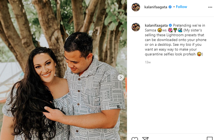 Kalani and Asuelu pose in matching outfits