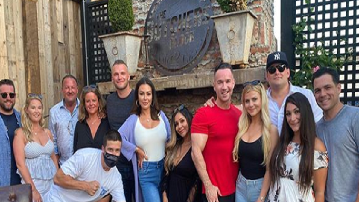 Mike Sorrentino with guests at his birthday party