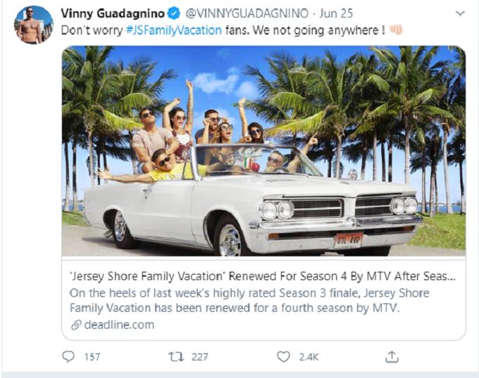A tweet from Vinny Guadagnino