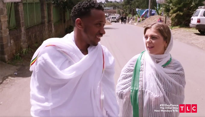 90 day fiance other way couple Biniyam and Ari dressed in white scarves
