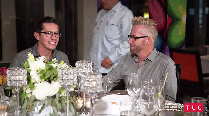 90 day fiance other way couple Kenny and Armando smiling over dinner