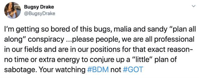 Bugsy slams fan Tweet.
