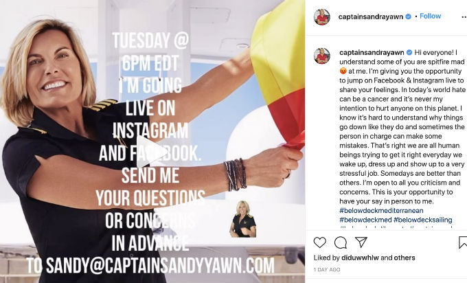 Captain Sandy to chat with mad Below Deck Med fans on Instagram and Facebook Live chat.