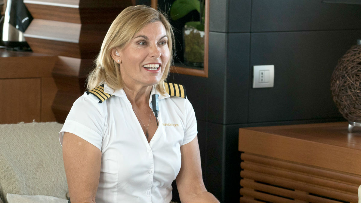 Captain Sandy Yawn dishing the dramatic Season 5 of Below Deck Mediterranean.