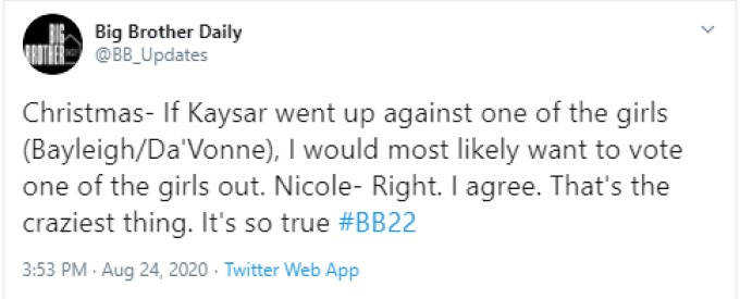 Christmas And Nicole Chat On BB22