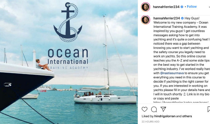 Hannah Ferrier launches yachting school after Below Deck Med.
