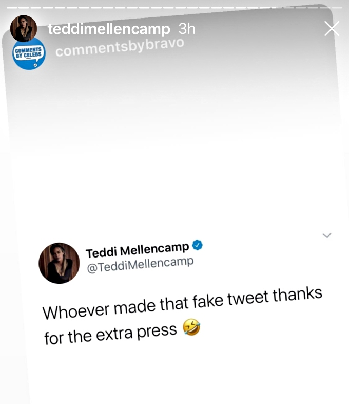 Teddi talks about fake tweet saying she quit RHOBH