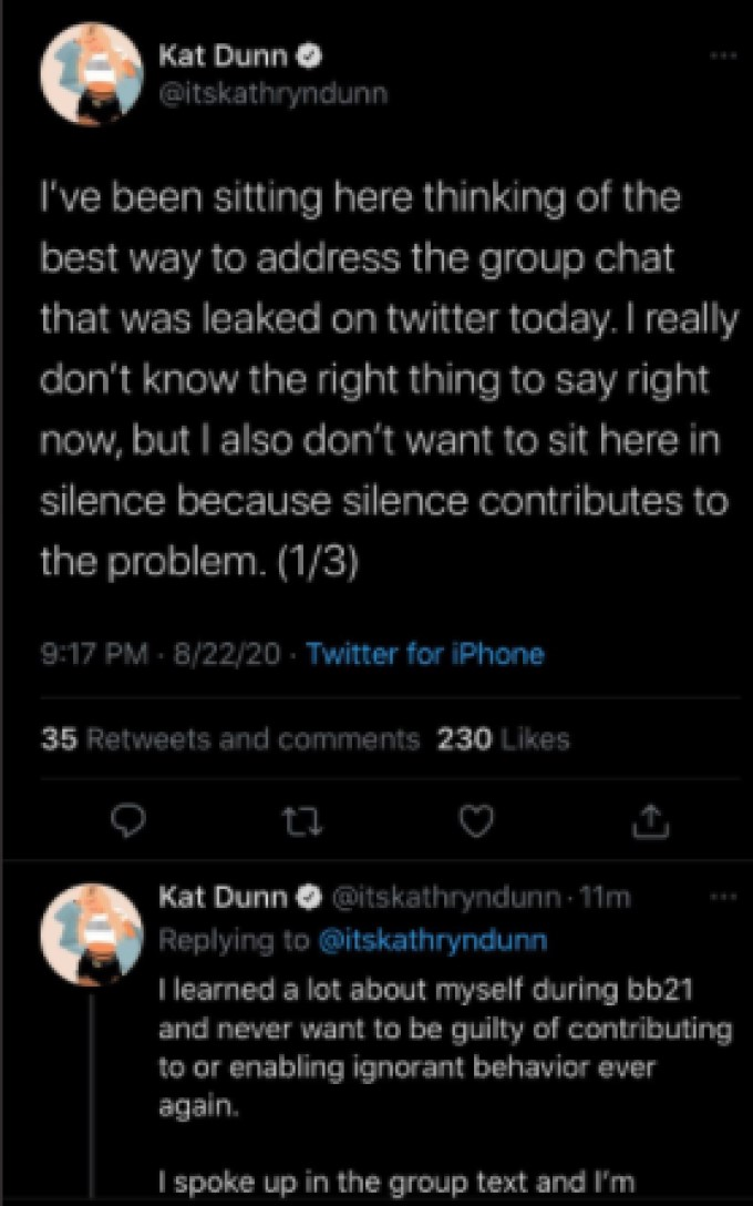 Kat Dunn Posts About BB21 Chat