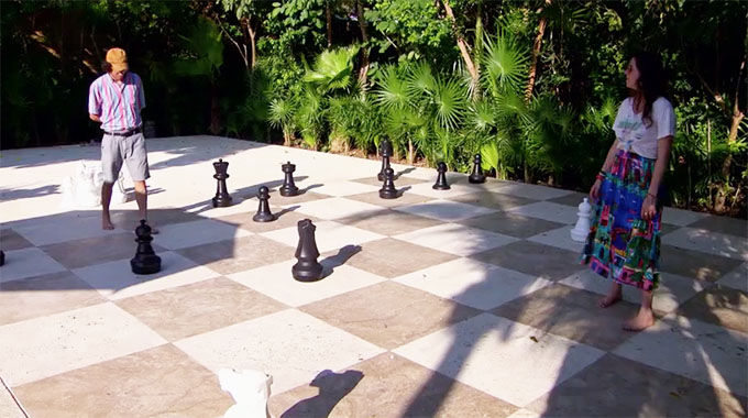 MAFS Season 11 couple Bennett and Amelia playing a huge game of chess