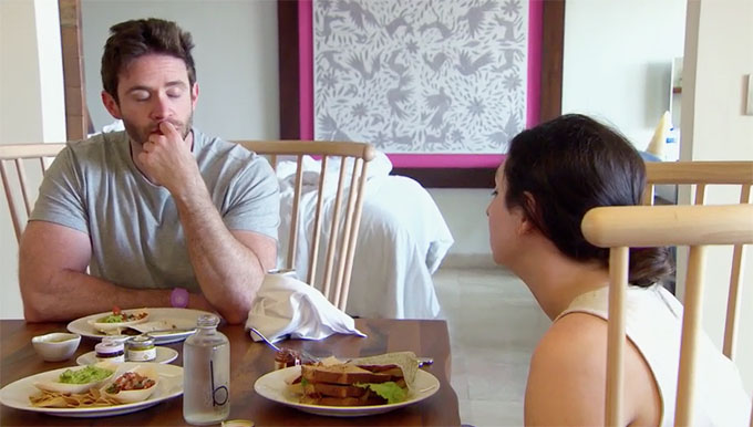 MAFS Season 11 couple Olivia and Brett eating breakfast