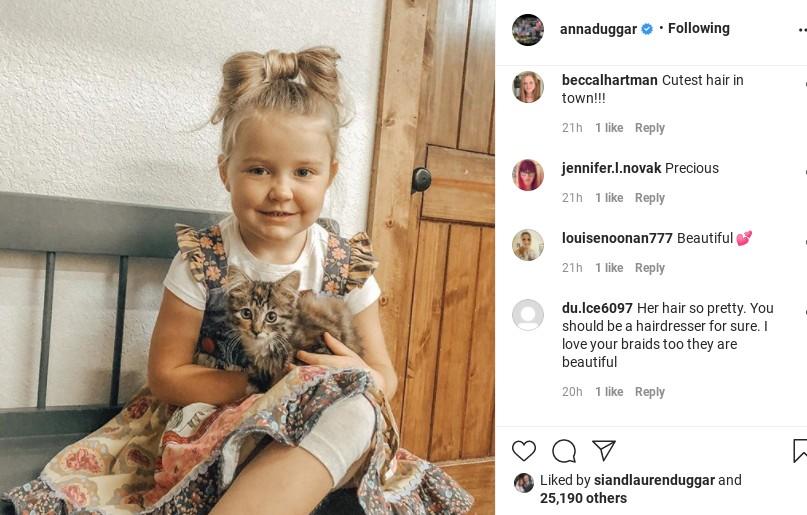 Anna Duggar's Instagram comments.