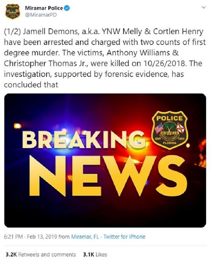 Miramar Police Twitter reports YNW Melly's arrest
