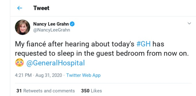 Nancy Lee Grahn jokes about Neil on Twitter.