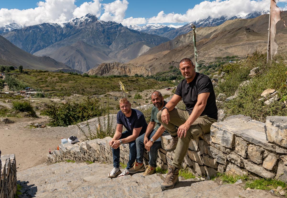 Freddie Flintoff, Chris Harris and Paddy McGuinness in Nepal