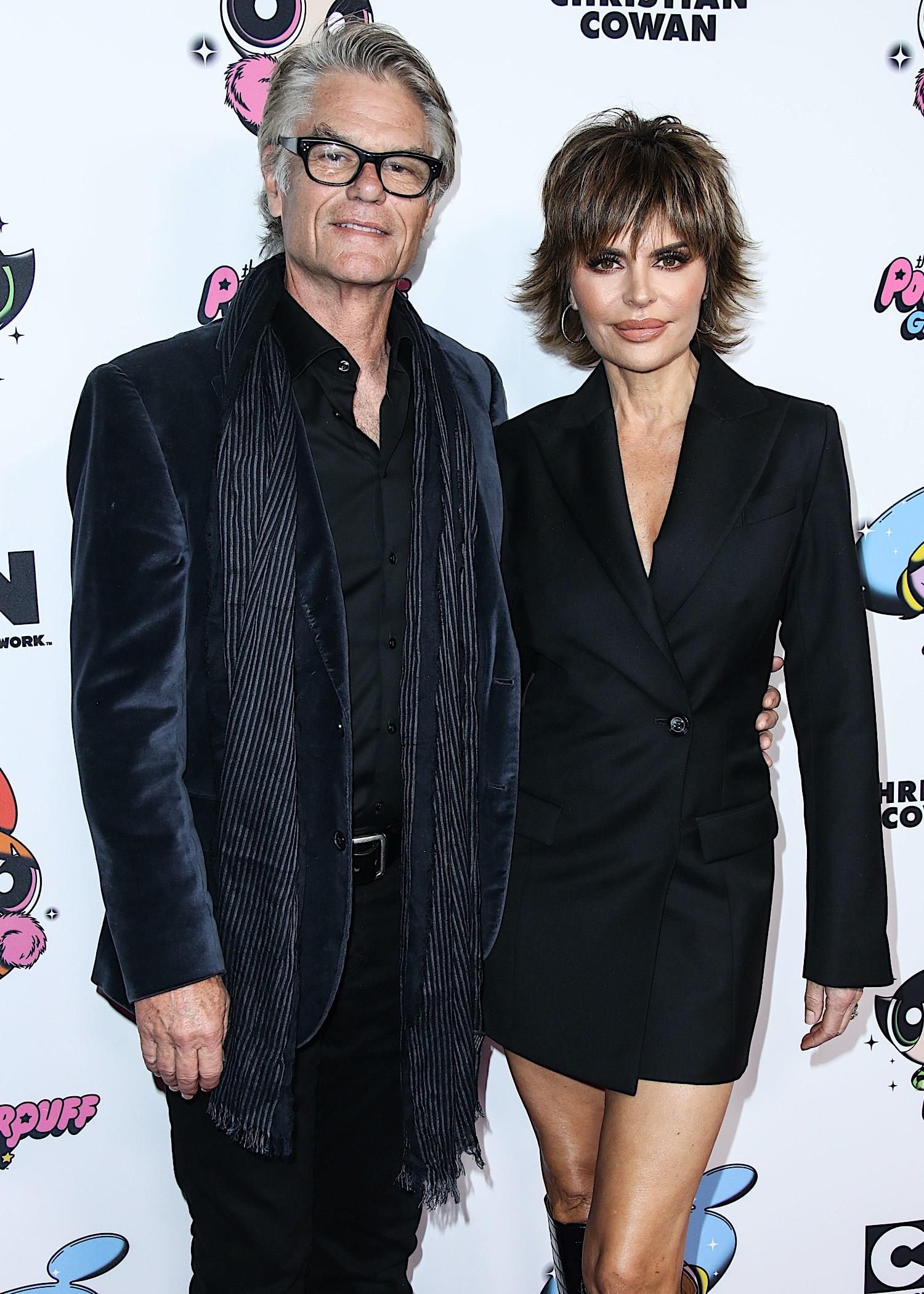 Lisa Rinna with Harry Hamlin at 2020 Christian Cowan