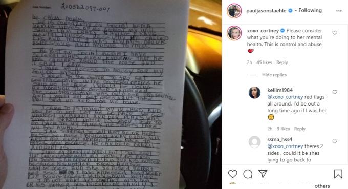Paul Staehle posts Cortney Reardanz responds