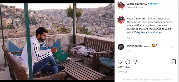 Yazan Abo Horira sitting in a building with a view on Instagram