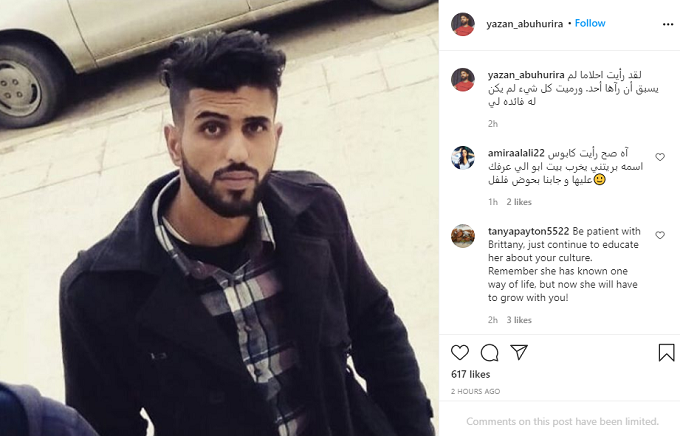 Yazan poses in an Instagram photo in a black shirt