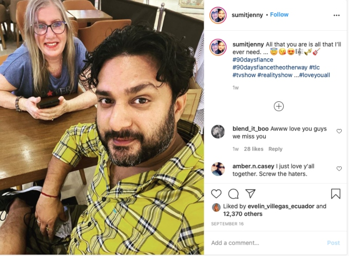 The photo from Sumit and Jenny's joint Instagram account. Pic credit: @sumitjenny / Instagram