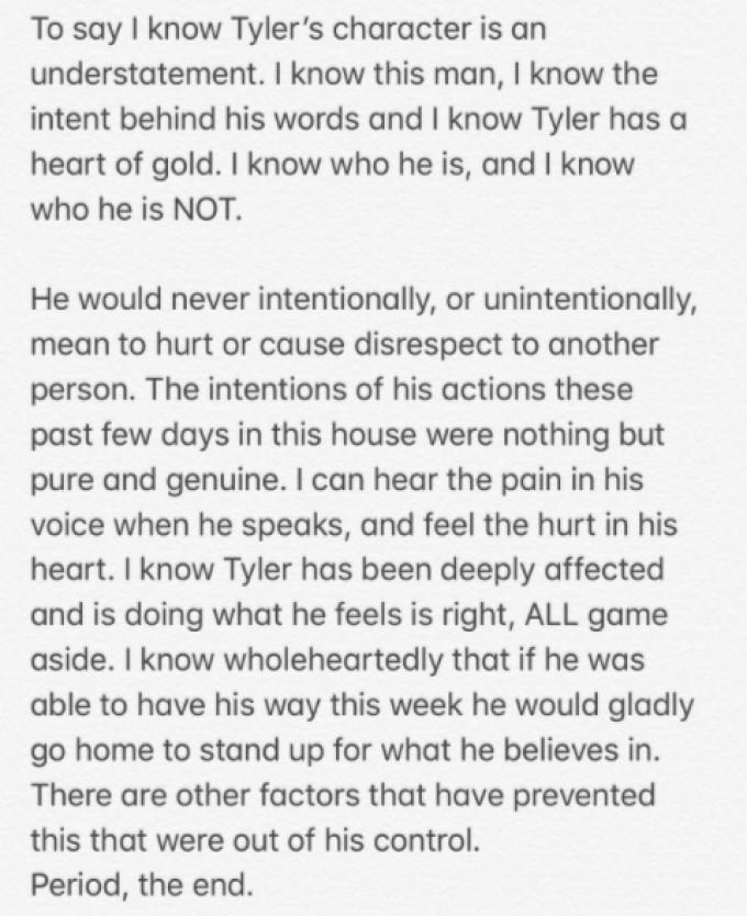 Angela Statement On Tyler