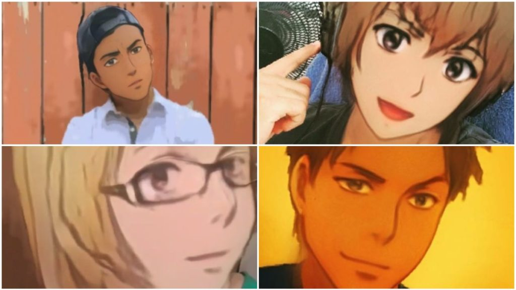 Examples of Anime Style face filter on Instagram