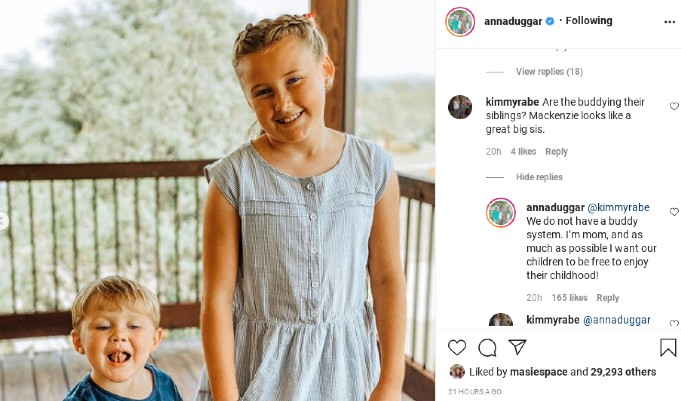Anna Duggar comments about the buddy system.
