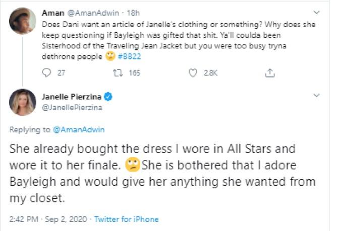 Janelle Comments On BB22 Dress