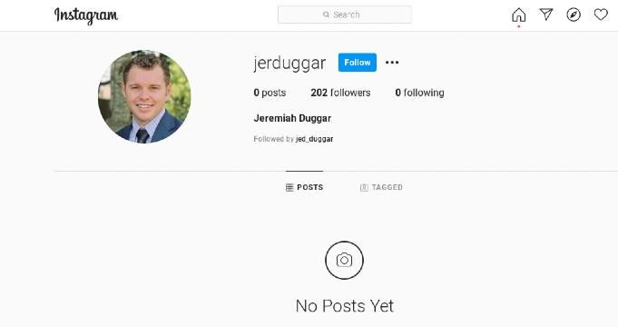 Jeremiah Duggar's empty Instagram account.