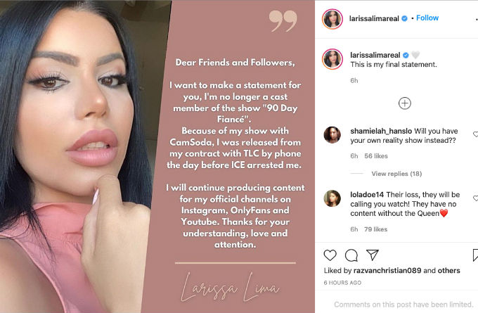 Larissa issues statement on being fired from 90 Day Fiance.