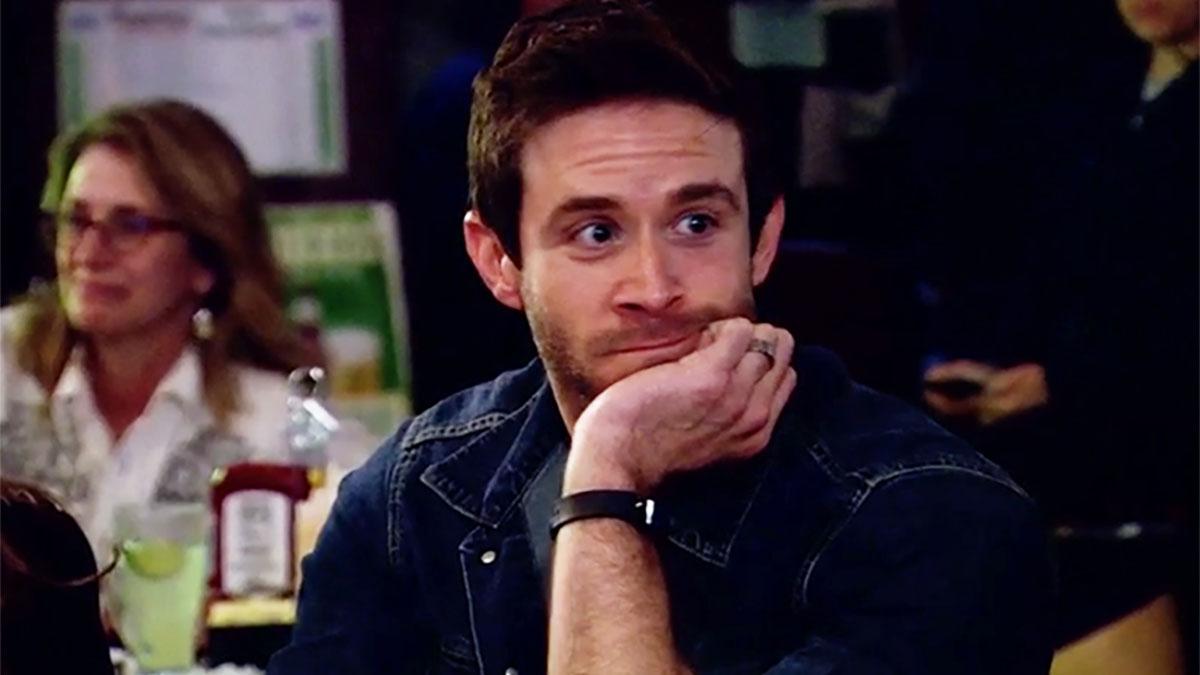 MAFS Season 11 Brett making a bored face in trivia