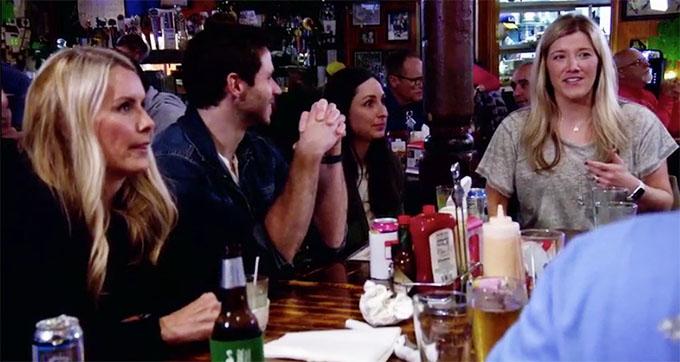 MAFS Season 11 couple Brett and Olivia playing trivia with Olivia's friends.