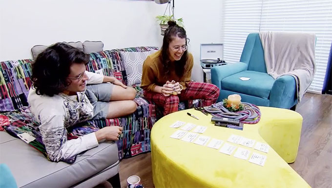 MAFS Season 11 couple Bennett and Amelia playing a draft game with cards