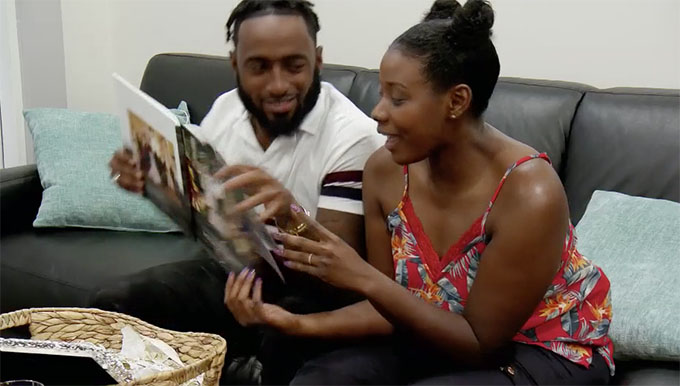 MAFS Season 11 couple Woody and Amani looking at photo album