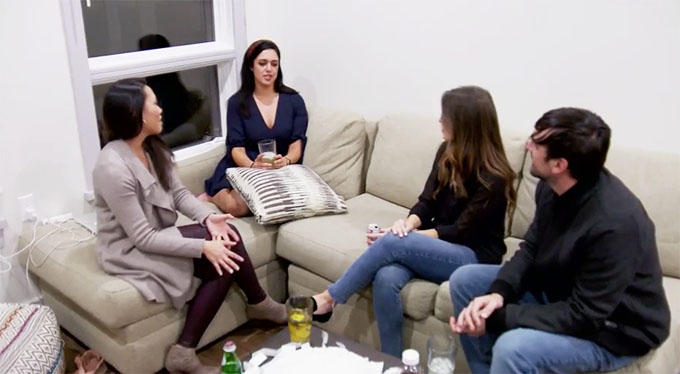 MAFS Season 11 Christina on couch talking to Henry's friends