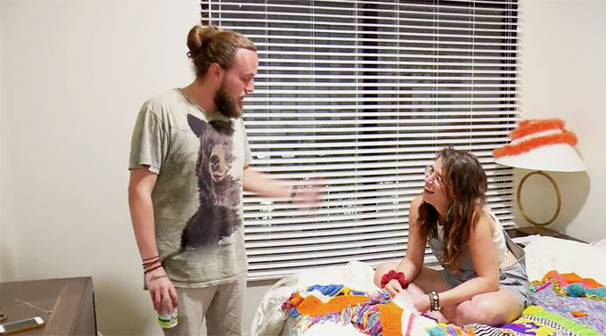MAFS Season 11 Amelia sititng on colorful blanket talking to guy friend