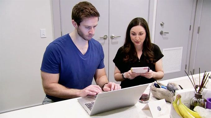 MAFS Season 11 couple Olivia and Brett in front of a computer