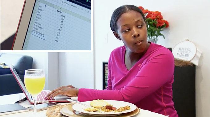 MAFS Season 11 Amani budgeting at the computer