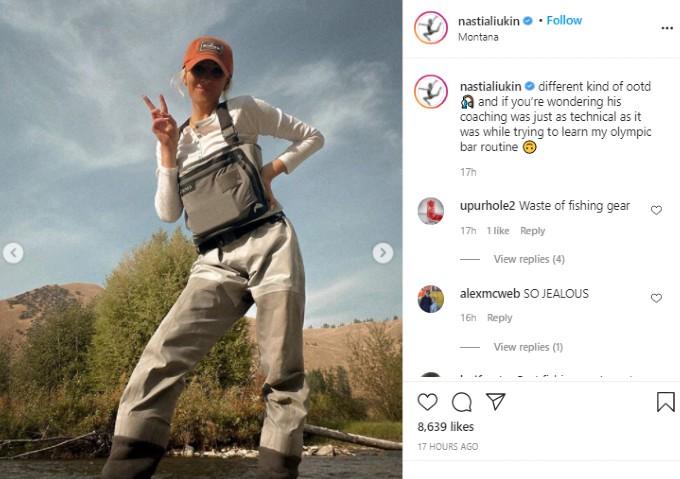 Nastia Liukin wearing fishing waders