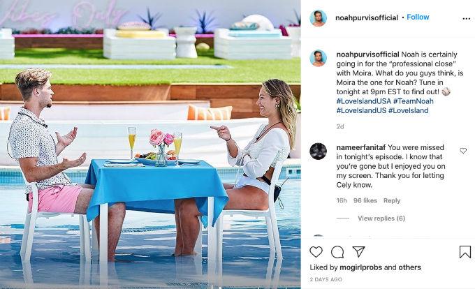 Noah and Moira Instagram Love Island
