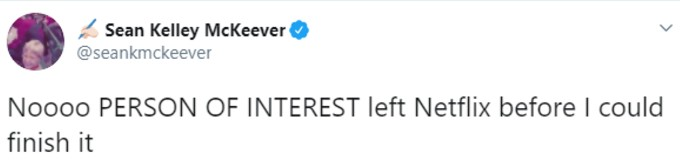 Tweet about Person of Interest