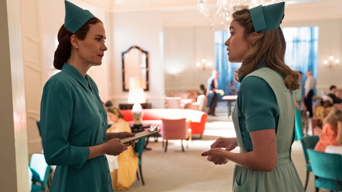 Sarah Paulson as Mildred Ratched and Alice Englert as Nurse Dolly